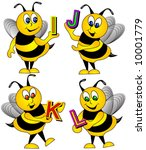 letters held by bees vector... | Shutterstock .eps vector #10001779