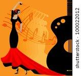 Flamenko Dancer In Red Black