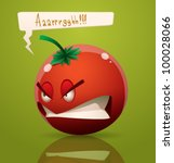 vector angry cartoon tomato | Shutterstock .eps vector #100028066