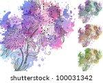 watercolor orchids   Shutterstock .eps vector #100031342