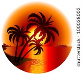 sunset on a tropical island.... | Shutterstock .eps vector #100038002