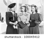 three women standing side by... | Shutterstock . vector #100045412