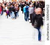 crowd of people on the shopping street - stock photo