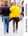 city people in motion blur - stock photo