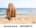 portrait of young woman lying... | Shutterstock . vector #100108472