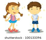 sparkling clean boy and girl | Shutterstock .eps vector #100133396