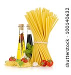 Pasta, tomatoes, basil, olive oil, vinegar, garlic and parmesan cheese. Isolated on white background - stock photo