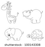 Outlined Cute Animal Set ...