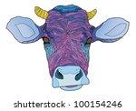 psychedelic cow   vector... | Shutterstock .eps vector #100154246