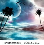 flying birds in the background... | Shutterstock . vector #100162112