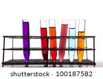 Laboratory equipment with some colored liquids - stock photo