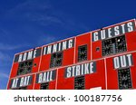 Baseball scorboard with bat ball and strike zones - stock photo