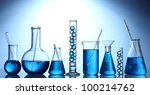 test tubes with blue liquid on... | Shutterstock . vector #100214762