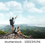 two young backpackers enjoying... | Shutterstock . vector #100234196