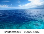 blue clear sea with waves and...   Shutterstock . vector #100234202