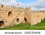 Fortification of the Jerusalem's old city and view of the new Jerusalem - stock photo