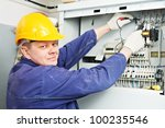 one electrician builder at work ... | Shutterstock . vector #100235546