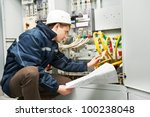 electrician builder at work... | Shutterstock . vector #100238048
