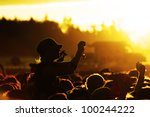 people celebrating on an open... | Shutterstock . vector #100244222