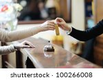 Stock photo business woman at the reception of a hotel checking in 100266008