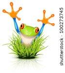 Little Tree Frog On Reflective...