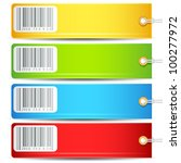 illustration of set of colorful tag with bar code sticker - stock vector