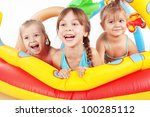 children playing in swimming... | Shutterstock . vector #100285112