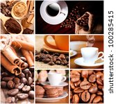 coffee beans and cup  cinnamon. ... | Shutterstock . vector #100285415