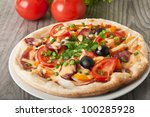 closeup of pizza with tomatoes  ... | Shutterstock . vector #100285928