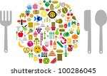 let's eat  food and beverage... | Shutterstock .eps vector #100286045