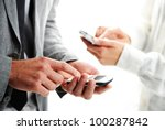 businesspeople text message on... | Shutterstock . vector #100287842