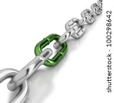 Chrome Chain With A Green Link...