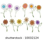 12 colorful flowers... | Shutterstock . vector #10032124