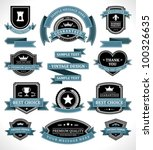 Stock vector vintage labels and ribbon retro style set vector design elements 100326635