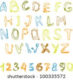 sketchy alphabet with numbers. | Shutterstock . vector #100335572