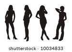 vector girl s silhouettes   Shutterstock .eps vector #10034833