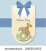 new baby announcement card with ... | Shutterstock .eps vector #100351922