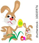 two merry bunny with egg  ... | Shutterstock .eps vector #10035976