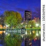 Skyline of Boston, Massachusetts from the Boston Public Gardens. - stock photo