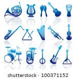 icons of musical instruments | Shutterstock .eps vector #100371152