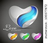 glossy heart shapes design in... | Shutterstock .eps vector #100377872