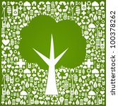 Green tree symbol over eco icons background. Vector file available. - stock vector