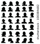 set of silhouettes of heads 8... | Shutterstock .eps vector #100384682
