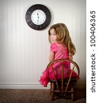 little girl in time out or in... | Shutterstock . vector #100406365