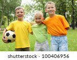 three boys in the park with a... | Shutterstock . vector #100406956