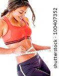 woman measuring her body  ... | Shutterstock . vector #100407352