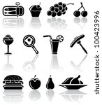 Set of black food icons, illustration - stock vector