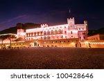 Prince's Palace in Monaco, night scene - stock photo