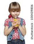 little girl drinking an orange... | Shutterstock . vector #100439806