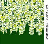 Green icon collection in city silhouette background. - stock photo